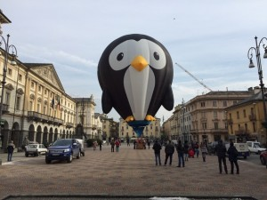 Puddles The Penguin Special Shape Hot Air Balloon Is Looking For His Valentine at the San Valentino Fiesta in Aosta, Italy